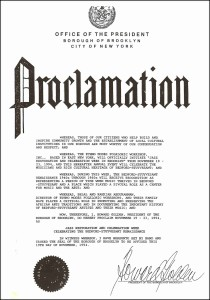 DProclamation issued by The Office of the President, Borough of Brooklyn.